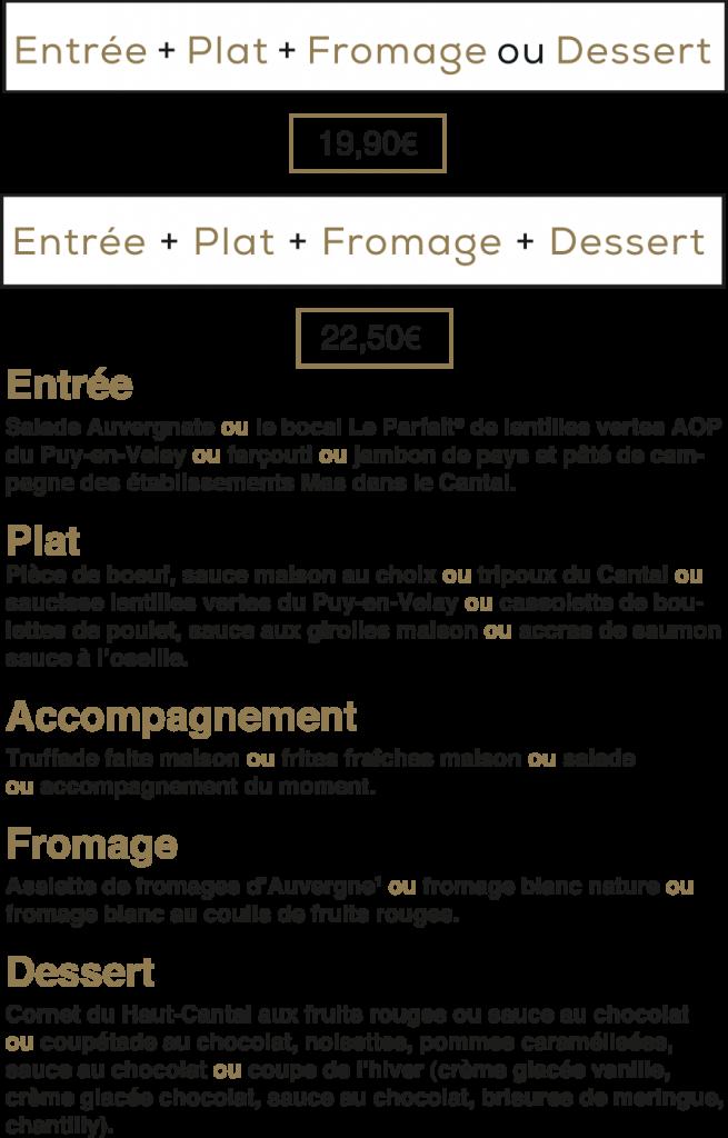 Les menus bons bougnats de La Mangoune