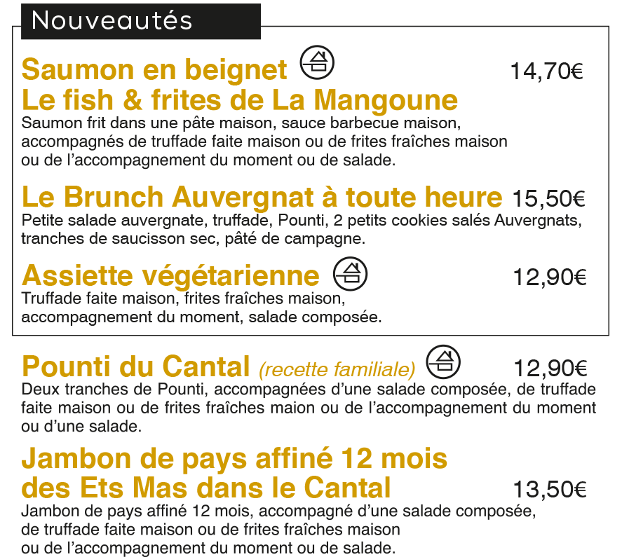 Les tendances Auvergnates à La Mangoune