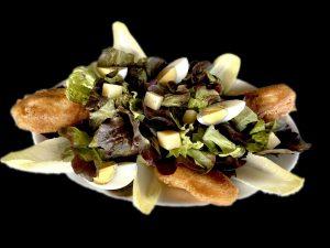 Salade de beignets de saumon / La Mangoune