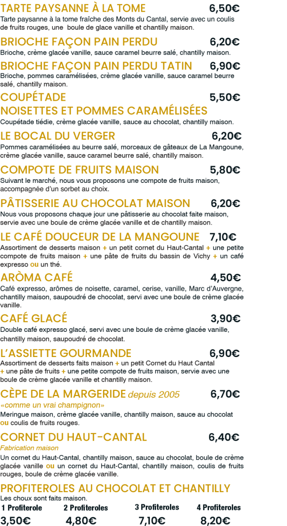 Les Desserts du Terroir / La Mangoune